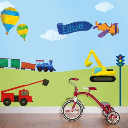 Transportation Wall Stickers Decals - Cars, Trucks, Trains- Wall Decals for Boys Room Wall Mural - Personalized  - FREE SHIPPING (USA). $144.99, via Etsy.