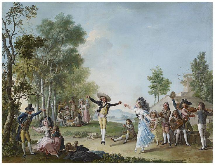Manuel Camarón y Meliá (1763-1806): Majos bailando el bolero (óleo sobre lienzo, c.1795-1805, Colección Alicia Koplowitz)