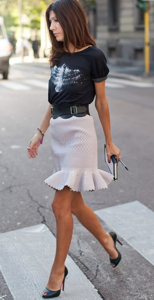 Like formal skirt with tee