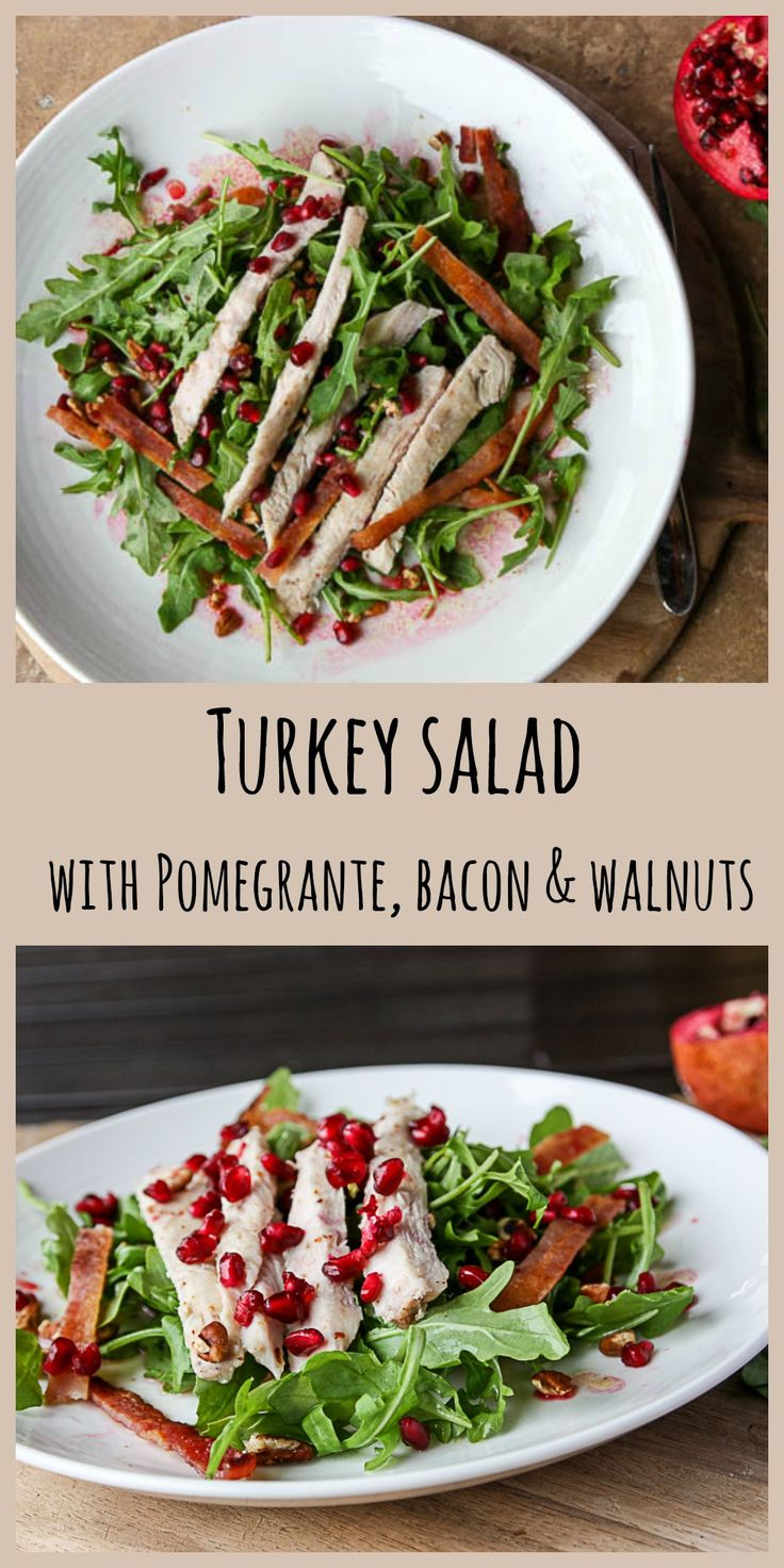 Turkey Breast Salad with, Pomegranate, Bacon and Walnut Salad is a delicious way to use turkey leftovers, or fresh cooke…
