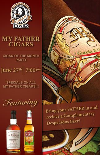 """The """"World Famous"""" Cigar Bar is Celebrating Father's Day in style and has asked me to design a couple of promotional posters to promote the event. The first poster is for a My Father Cigars Sampler..."""