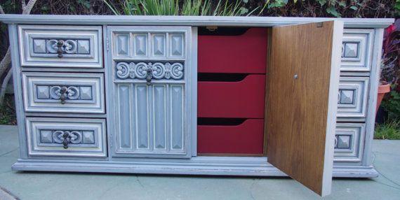 Sold -Vintage 60-70's Basset Solid Oak Mediterranean Dresser or Media Cabinet on Etsy, $650.00