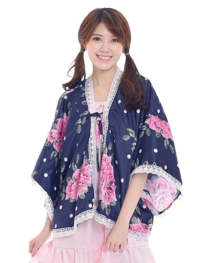$20. Shop cute and sweet floral kimono cardigan in dark blue color, with lace and bow detail. Jual cardigan kimono floral dengan renda dan pita yang cantik. Ship worldwide! #kimono #cardigan #bohemian #asian #fashion #style #look #kawaii