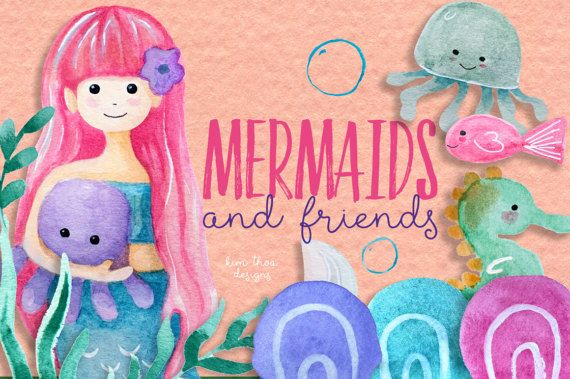 Mermaids and Friends  Sea Creature by CherryImprintDesign on Etsy