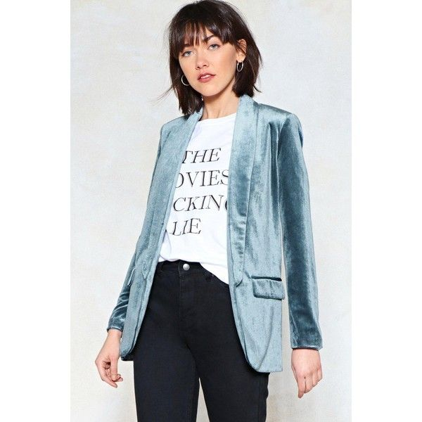 Nasty Gal Get a Load of This Velvet Blazer ($45) ❤ liked on Polyvore featuring outerwear, jackets, blazers, grey, gray jacket, open front jacket, grey jacket, grey blazer and grey velvet jacket