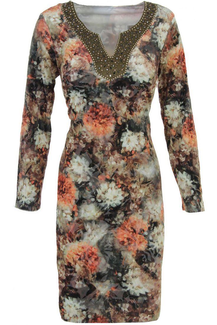 fluweel look jurk met bloemenprint en studs - K-design - k876 | Eigentijdse damesmode - Ter Horst Van Geel
