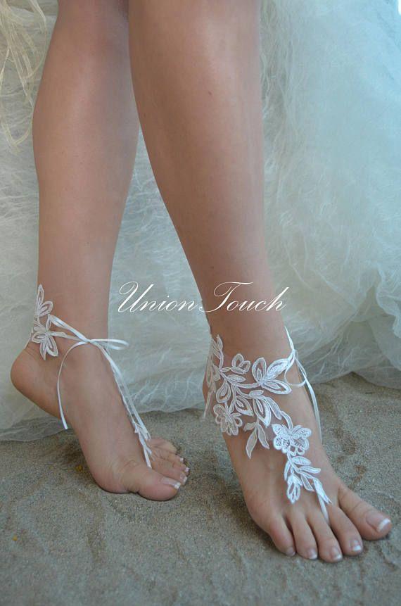 Ivory lace sandals Beach Wedding barefoot sandals lace anklet lace Wedding Shoes beach shoes beach sandals Bridal sandals 6 Colors