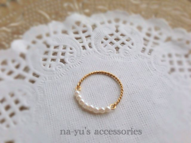 handmade pearls & wire ring