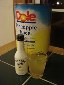 "This shot is similar to Tech N9ne's hit song, ""Caribou Lou,"" but for half the cost and double the taste. This simple shooter of one part Malibu rum and one part pineapple juice represents UMass as a fun and lively refreshment."
