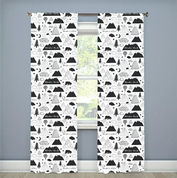 Adventure Awaits Mountains Nursery Curtains Black White Bear