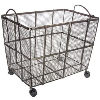My favorite hobby lobby farmhouse storage baskets. Perfect for organizing your modern farmhouse! Organize the kids toys, your kitchen, living room, bedroom and more!  #affiliate   Metal Mesh Basket on Wheels - Large
