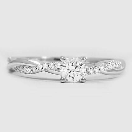 18K White Gold Petite Twisted Vine Diamond Ring // Set with a 0.25 Carat, Round, Good Cut, E Color, SI1 Clarity Diamond #BrilliantEarth
