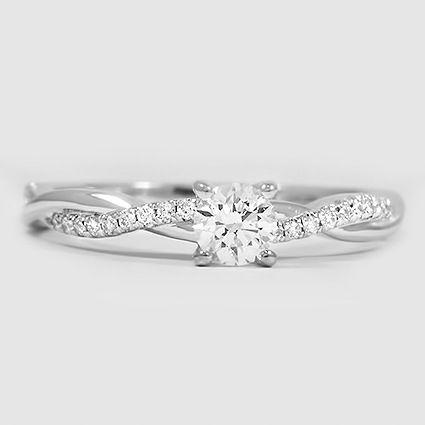 18K White Gold Petite Twisted Vine Diamond Ring // Set with a 0.25 Carat, Round, Good Cut, E Color, SI1 Clarity Diamond #BrilliantEarth
