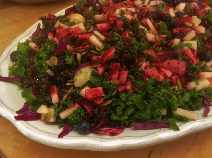 Blueberry Kale Salad. So pretty to look at, easy and incredibly healthy!