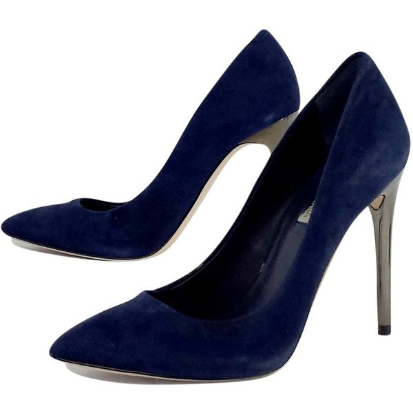 Pre-owned BCBG Max Azria Navy Suede Heels ($75) ❤ liked on Polyvore featuring shoes, pumps, silver metallic pumps, pointed toe shoes, pointed toe high heel pumps, navy blue high heel pumps and bcbgmaxazria shoes