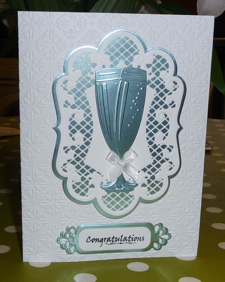 Marianne Anja Ovals & Wine Glasses Congratulations Card