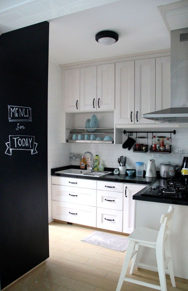 White And Black Kitchen With Chalkboard Wall Country Interior DesignCountry