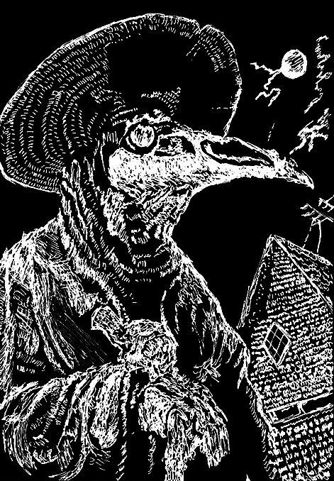 Plague Doctor A5 liner marker negative #plague #pestilence #plaguedoctor #doctor #bird #house #draw #drawing #liner #marker #linermarker #darkart #art
