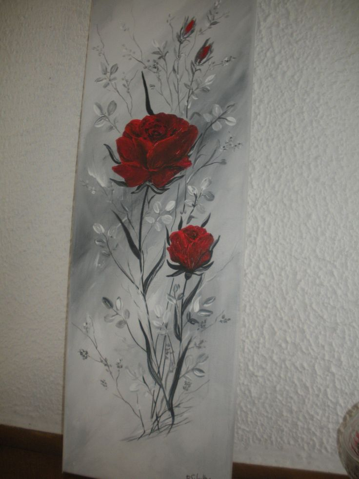 RED ROSES IN GRAY FOLIAGE ON DEGRADE BACKGROUND: Paintings by brigitte-schutten