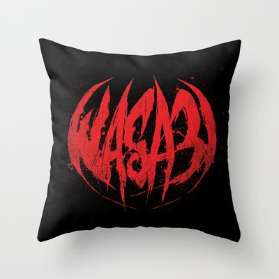 Bloody.Logo. Throw Pillow by WASA3I - $20.00