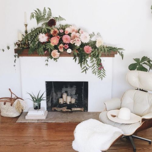 Mantel Arrangements: Coming Soon To @glitterguide. This Fireplace Mantel Flower