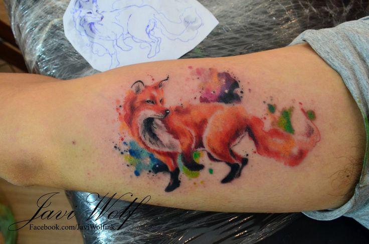 Watercolor fox - Diseño y estilo propio Tattooed by @javiwolfink