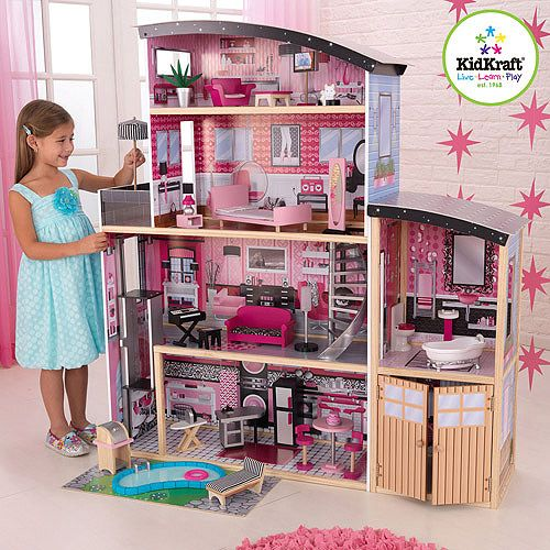Kidkraft Sparkle Wooden Dollhouse With 30 Pieces Of Furniture Mansions Dollhouse Dolls And