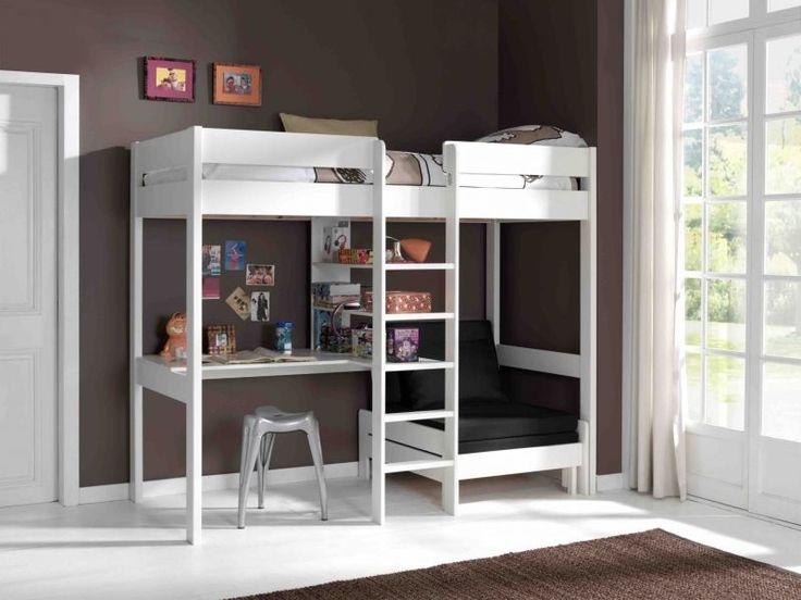 Etagenbett 90x200cm Mit Schreibtisch Und Sesselbett. Farbe: Weiß In Möbel U0026