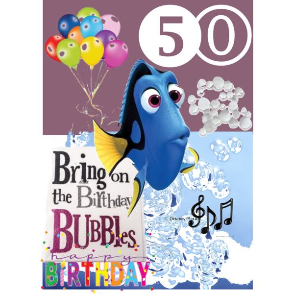 happy 50th karla by diaparsons on Polyvore featuring art, happy, fish, balloons, bubbles and 5O