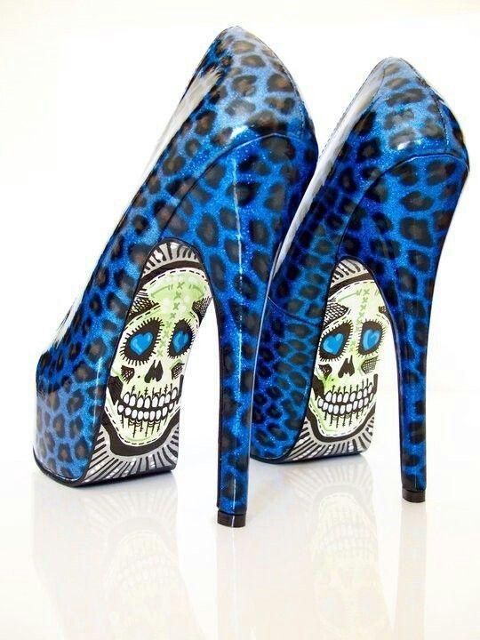 Skull leopard blue heels