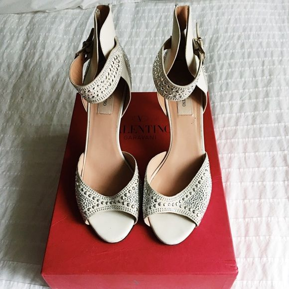MOVING SALE Valentino stud heels Valentino open toe heels with zipper heel. Silver stud detail all over. Worn once or twice. Everything must go by January 29th! Make me an offer! Valentino Shoes Heels