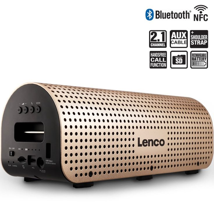 Portable Outdoor Wireless Bluetooth Speaker Lenco Grid-7 with Super Bass Stereo Sound and Built-in Microphone Playtime up to 10 hours. 2.1CHANNEL SPEAKER: Crystal clear deep bass, with double 3W high pitch speaker and a 5W bass speaker to provide strong bass without distortion even at highest volume, let you enjoy full-range stereo sounds. MORE POWERFUL AND SIMPLER CONNECTION: Include NFC & Bluetooth, built-in 3.5mm audio line and support Micro SD card reader for cards up to 32GB…