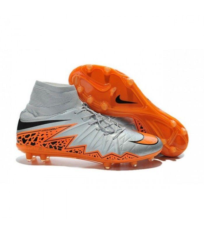 Acheter Nike HyperVenom Phantom 2 FG Chaussures de football Loup Gris  Orange Noir pas cher en ligne 123,00€ sur http://cramponsdefootdiscount.com