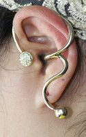 Rhinestone Heart/Charm Ear Cuff #ear #earcuff #earring #gold #hugger #jewelry #jewels #piercing #pretty #yellow Make your summer! www.ceesquared.ca $8.00 Visit Today!  $5 off order over $12 CODE:  Beach