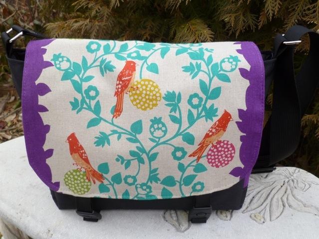 Falcon mini messenger bag made with perch in purple
