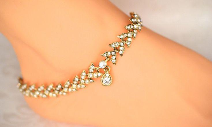 Elegant Gold Tone Bollywood Indian Diamante Anklet Payal Foot Jewellery Wedding | eBay