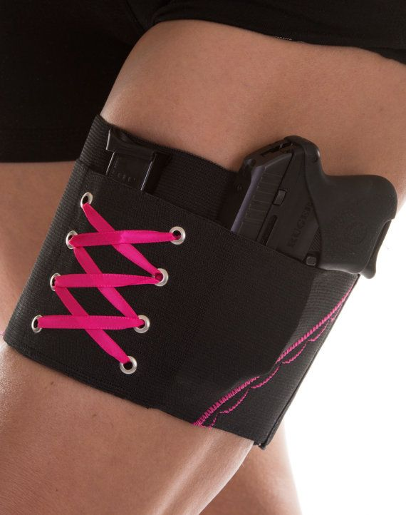 Hot Pink On Black Garter Holster for Concealed Carry under Skirts