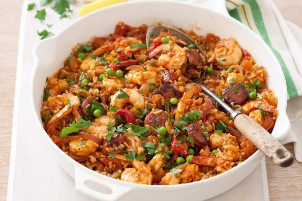 Spanish prawn and chorizo rice