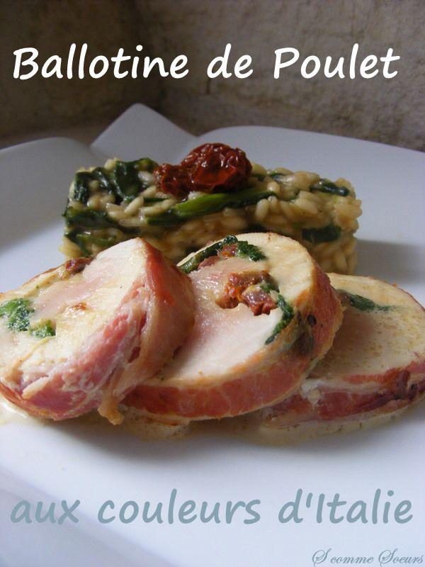 BALLOTINE DE POULET AUX SAVEURS ITALIENNES (escalopes de poulet, lard tranches fines, mozzarella, épinards, tomates séchées, huile d'olive, échalote)