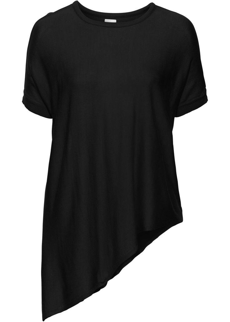 Пуловер с коротким рукавом и асимметричным нижним краем, BODYFLIRT, черный