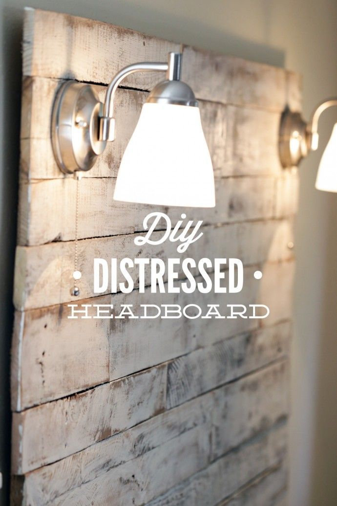 How to make an easy weekend DIY Distressed Headboard from salvaged wood pallets. Gorgeous, shabby-chic header board with step-by-step tutorial instructions and pictures!