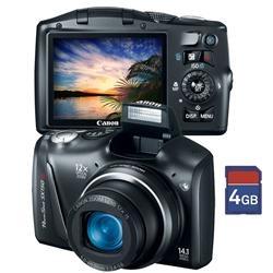 Câmera Digital Canon Powershot SX150 IS Preta, LCD 3.0 , 14,1MP, Zoom Óptico 12X, Zoom Digital 4X, FaceDetection, Estabilizador de Imagem + Cartão 4GB