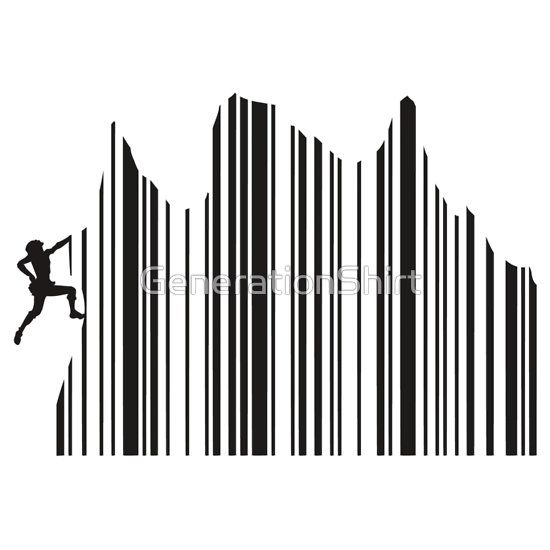 Barcode Climber http://www.redbubble.com/people/generationshirt/works/10664962-climbing-barcode