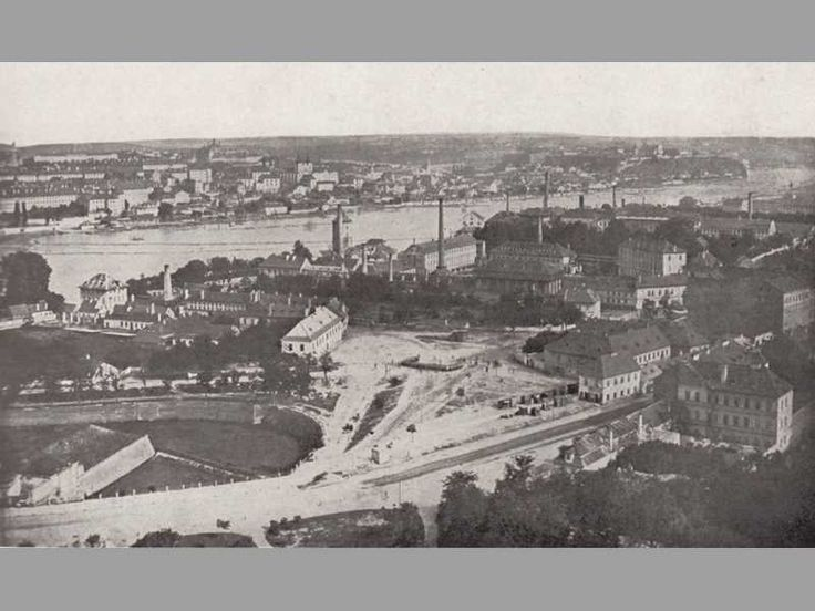 pohled na Smíchov ze zahrady Kinských, 1867 - kousek za Újezdskou branou