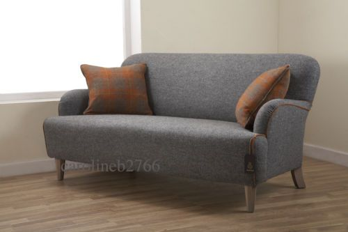 Roche Bobois Cardamone Harris Tweed Grey Fabric Sofa Home