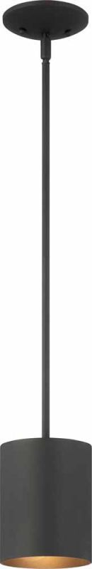 "Volume Lighting V9605 1 Light Outdoor 6.75"" Height Pendant with Metal Cylinder S Black Outdoor Lighting Pendants"