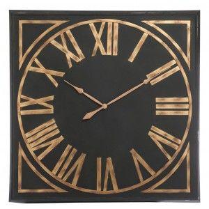 Horloge murale XXXL 113cm avec chiffres romains Style Vintage en fer et bois - Lignes épurées et élégantes - Coloris Noir et Or