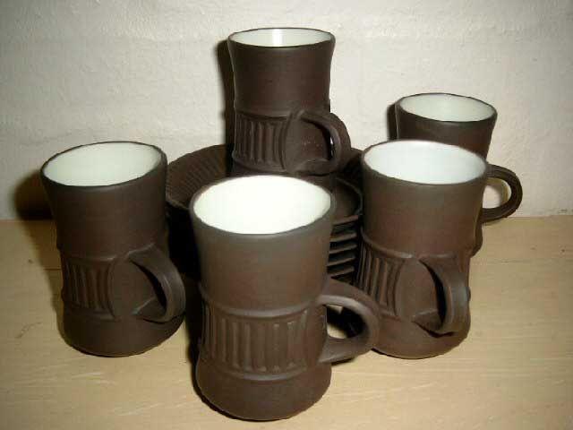 Jens Harald Quistgaard (IHQ) Flamestone espresso cups  - 1960-70s - ceramic. #Quistgaard #IHQ #Flamestone #espresso #cups #Danish #kopper