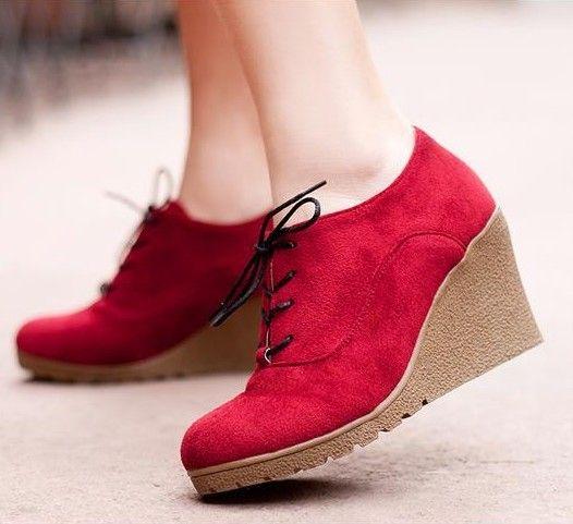 2016 nouveaux compensées bottes mode Flock femmes à talons hauts coins de la plate   forme cheville bottes Lace Up talons compensées chaussures pour femmes dans Bottes pour femmes de Chaussures sur AliExpress.com | Alibaba Group