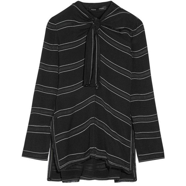 Shop Proenza Schouler Knotted Tie-front Striped Crepe Top in Black at... ($420) ❤ liked on Polyvore featuring tops